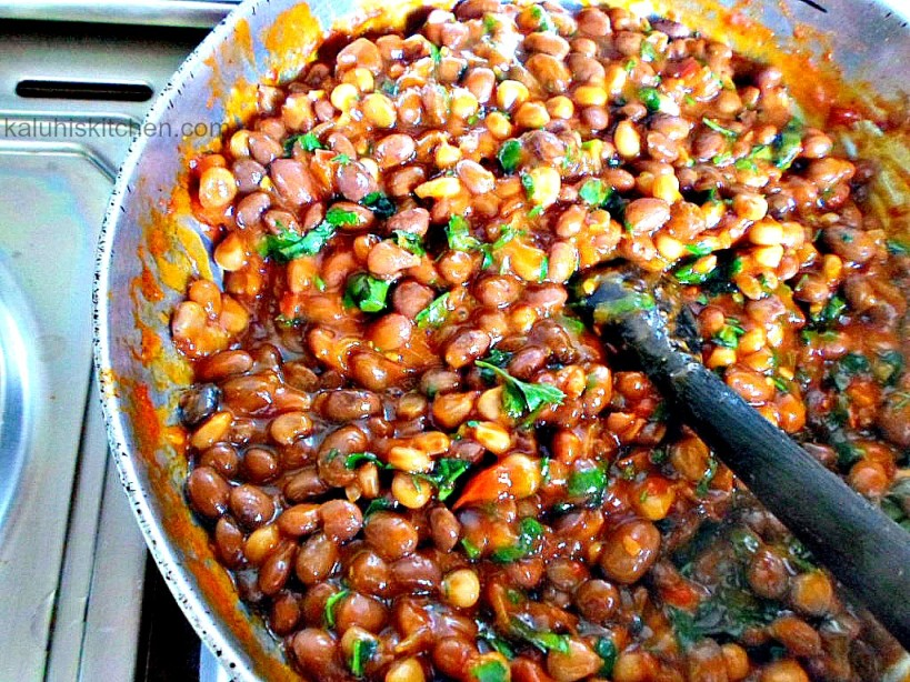 fresh coriander elevates the flavor of the githeri and brings out taste of ginger and chili