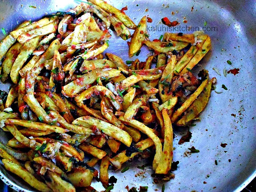 making garlic masala fries_masala fries_kenyan take on french fries_kenyan food