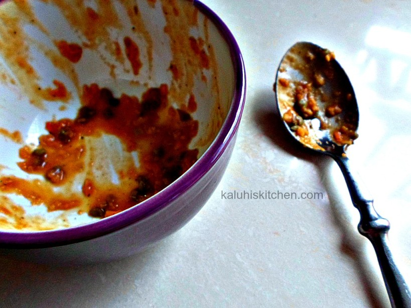 ndengu laddled in a bowl. This Kenyan meal goes really well with chapati