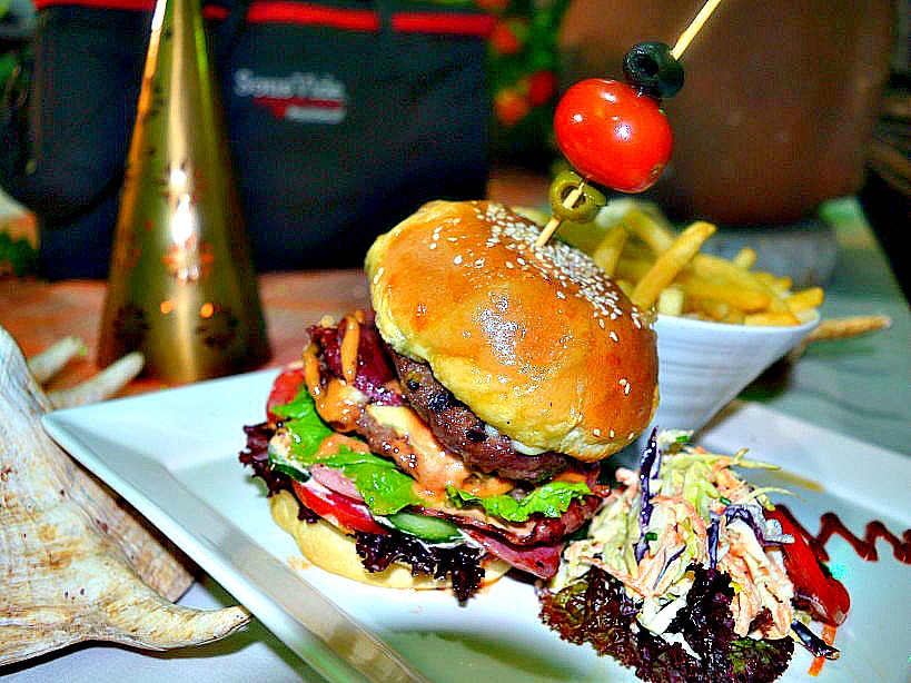 bacon and cheese steak burger with aged gouda cheese as served at the flame tree restaurant at the sarova panafric_kaluhiskitchen.com