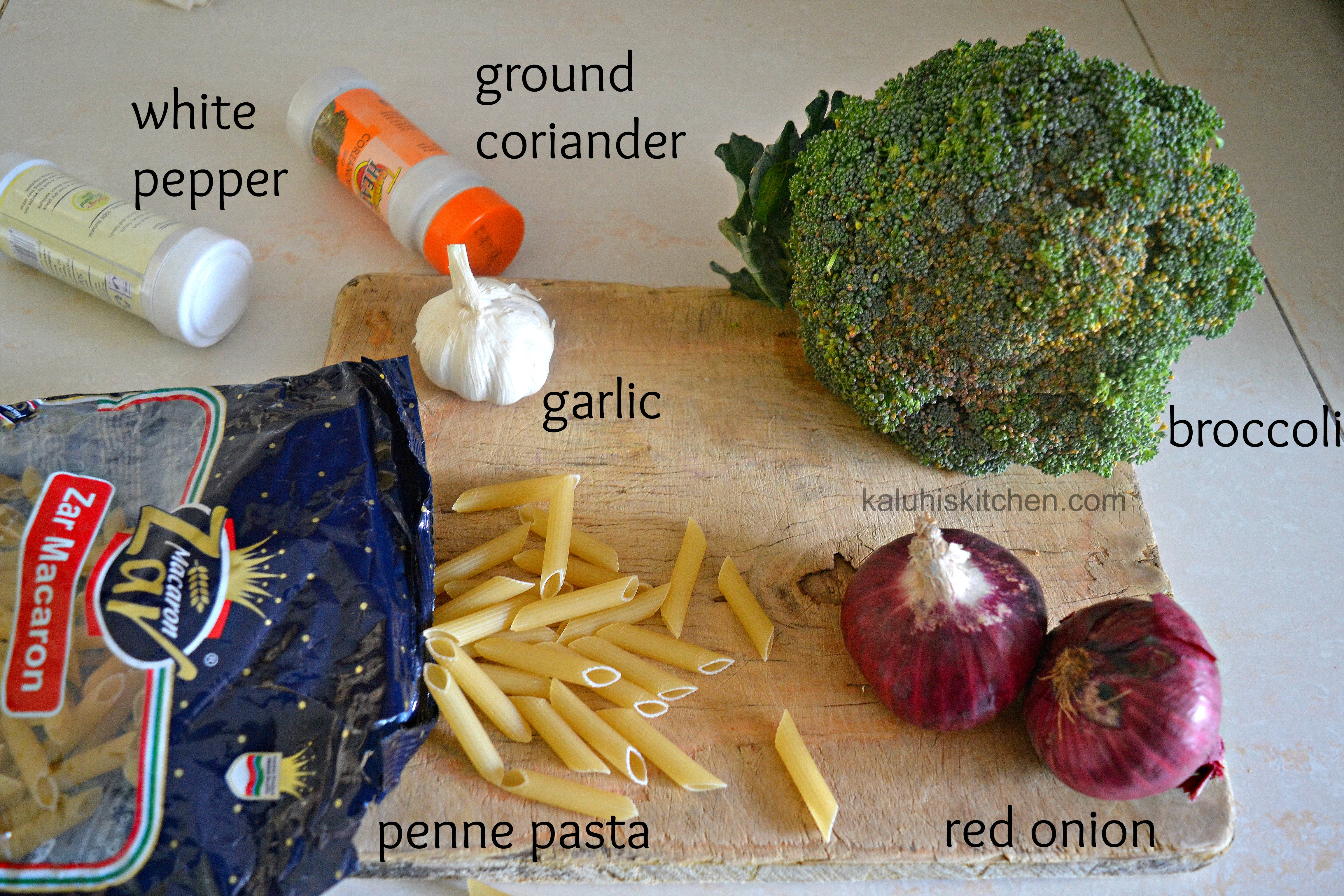 garlic and broccoli penne stir fry_ingredients fro a pasta stir fry_kaluhiskitchen.com