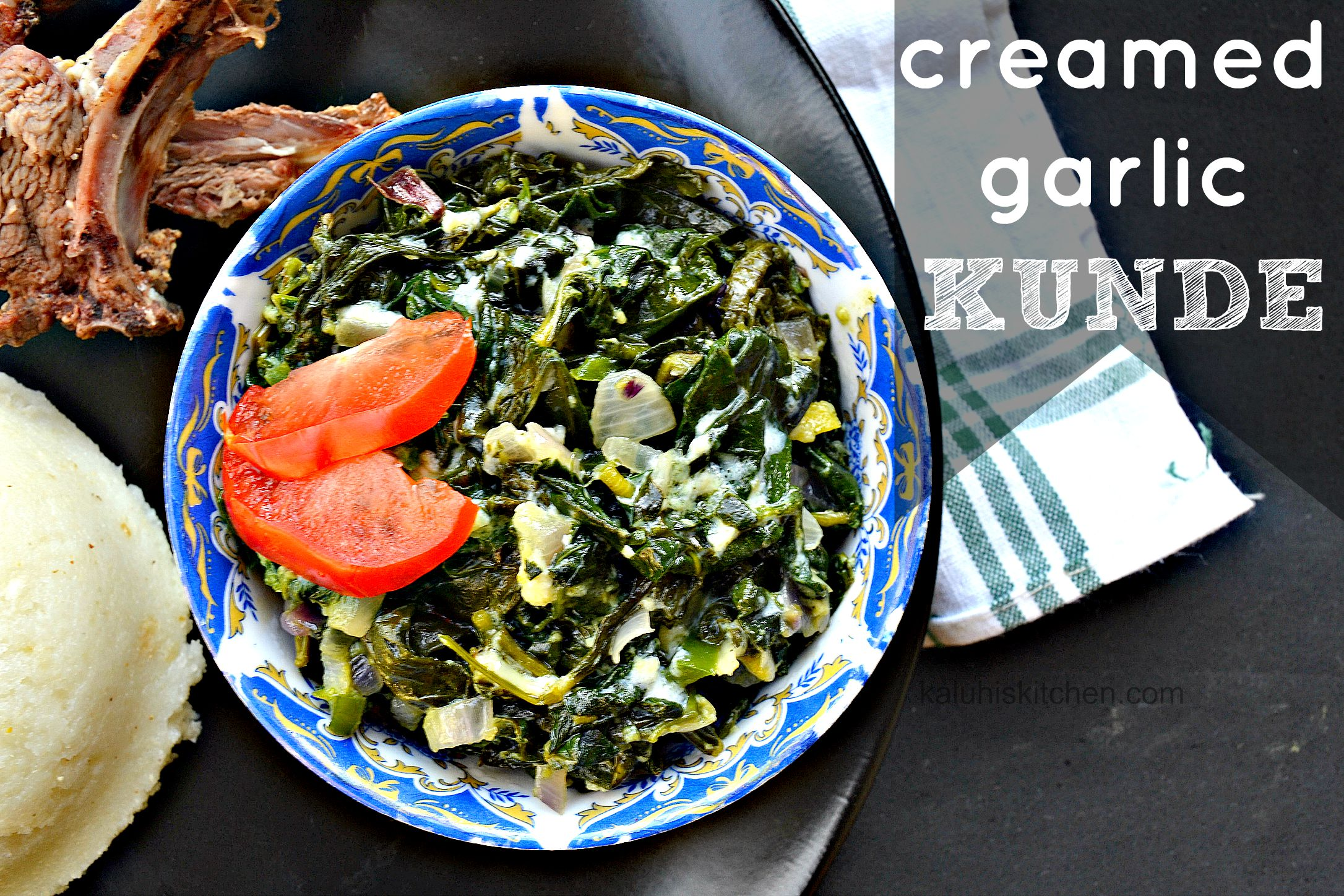 best kenyan food blog kaluhiskitchen.com presents a traditional kenyan meal called kunde made with garlic and cream for extra richness