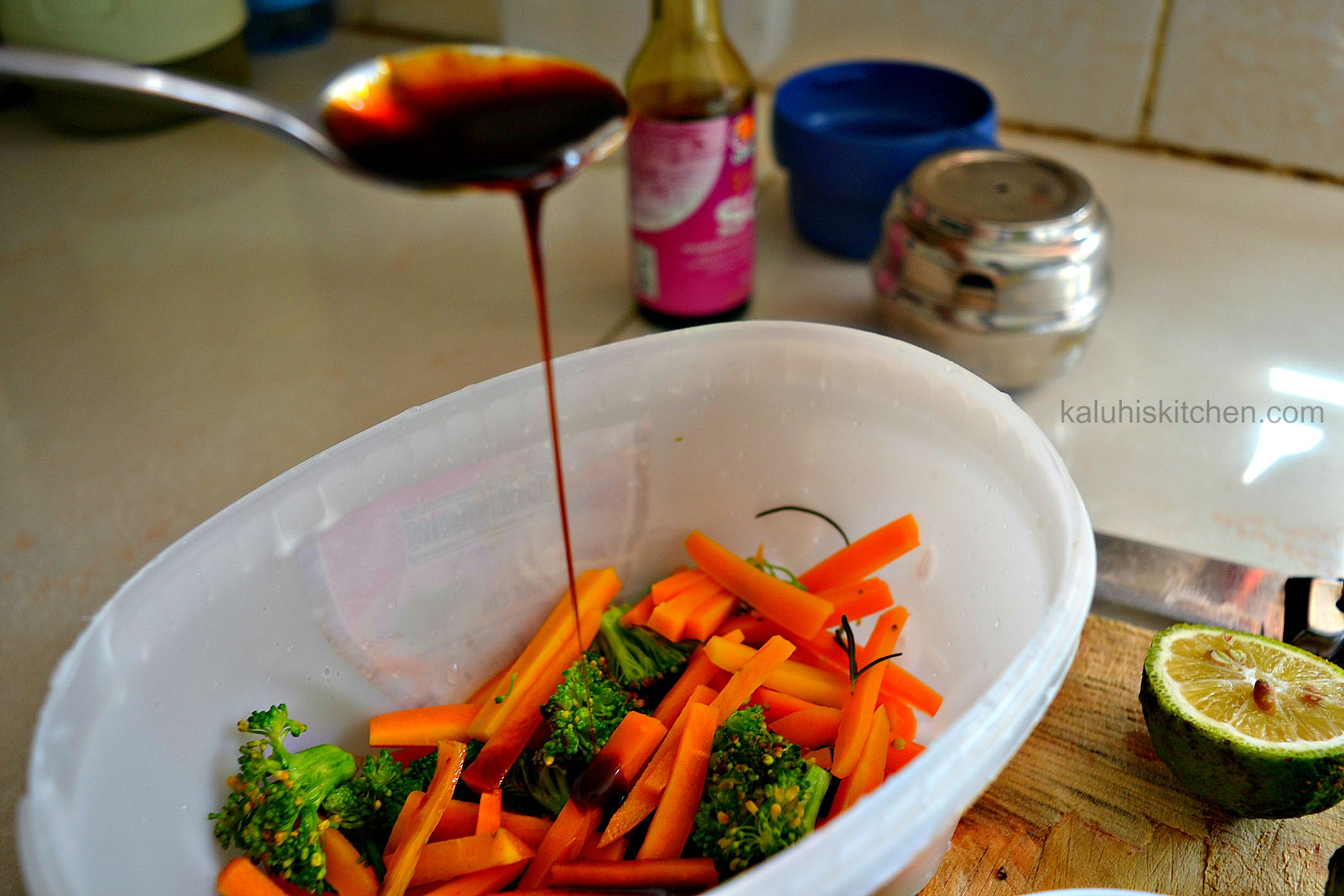 kenyan food blogs_adding the chilli caramel to the broccoli and carrots while they are warm allows them to absorb all that flavor_kaluhiskitchen.com