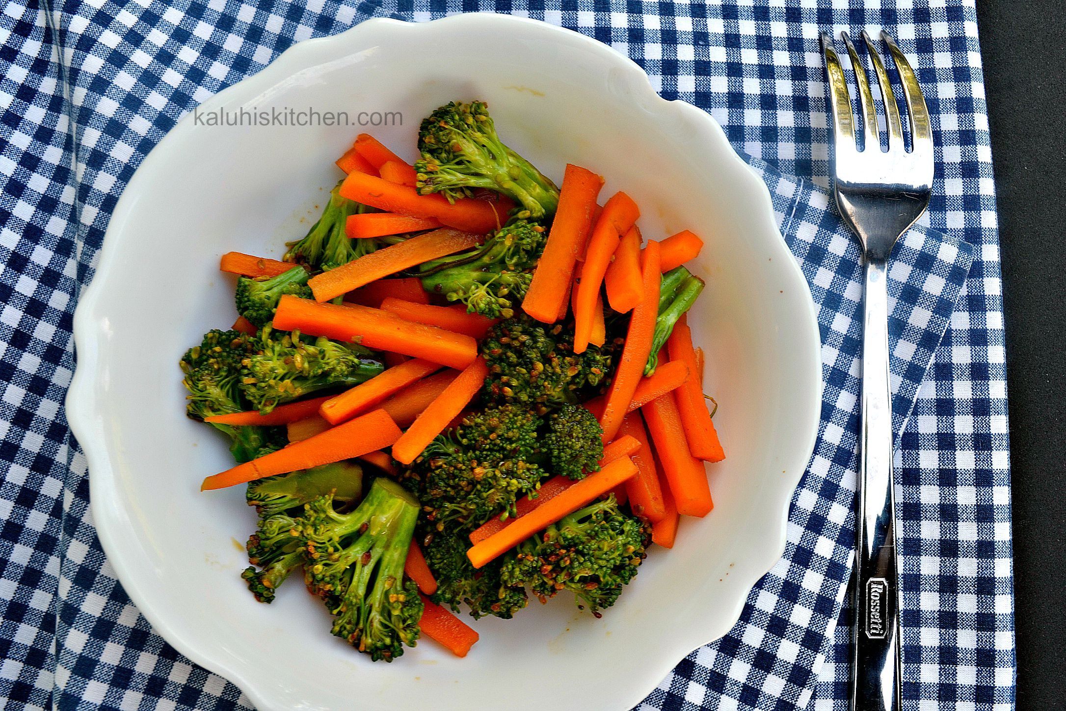 kenyan food blogs_african food blogs_carrots and broccoli steamed and served with some chilli caramel serves the perfect ballance between sweet and spicy_kaluhiskitchen.com