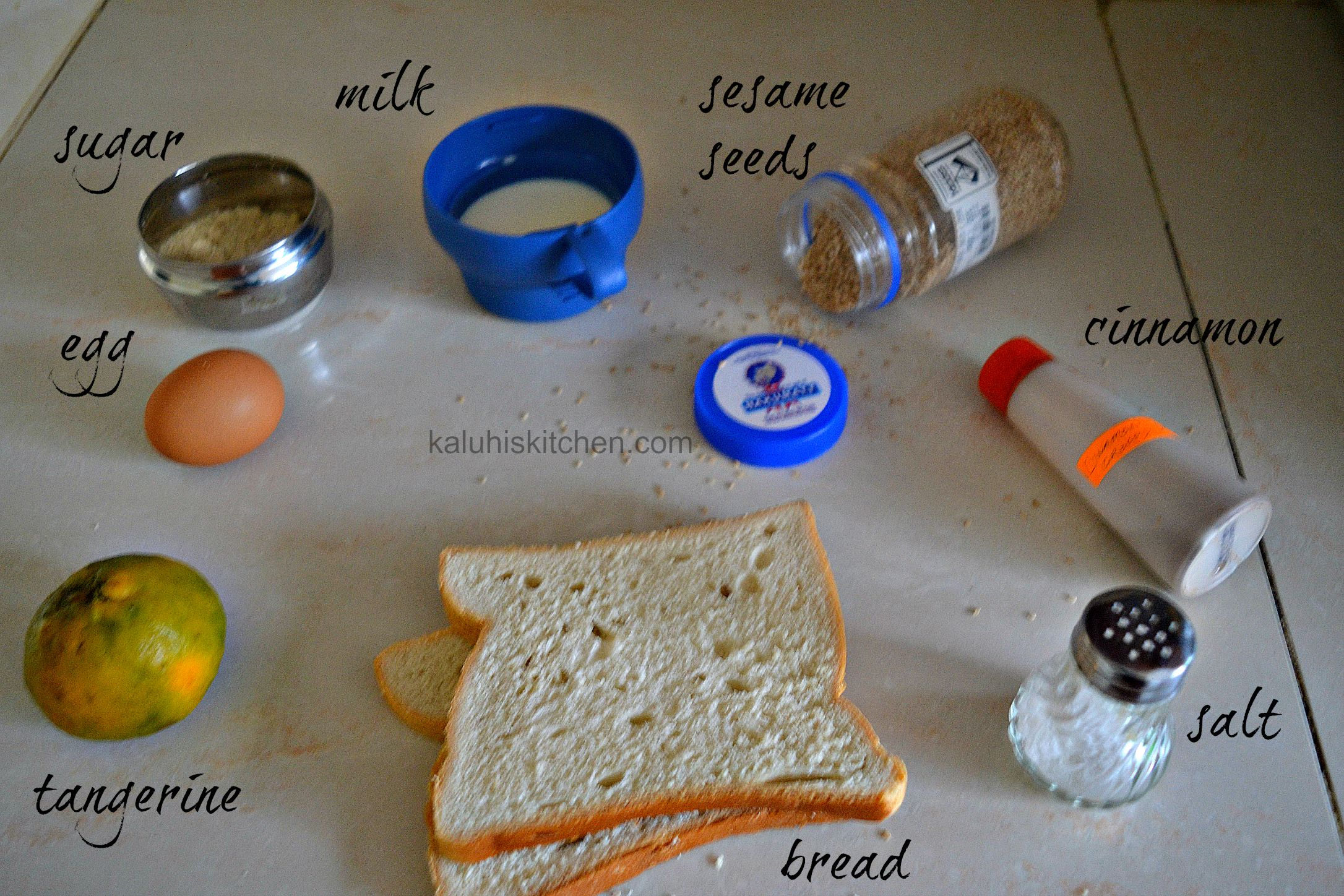 sesame seed and tangerine french toast ingredients_kaluhiskitchen.com_how to make french toast