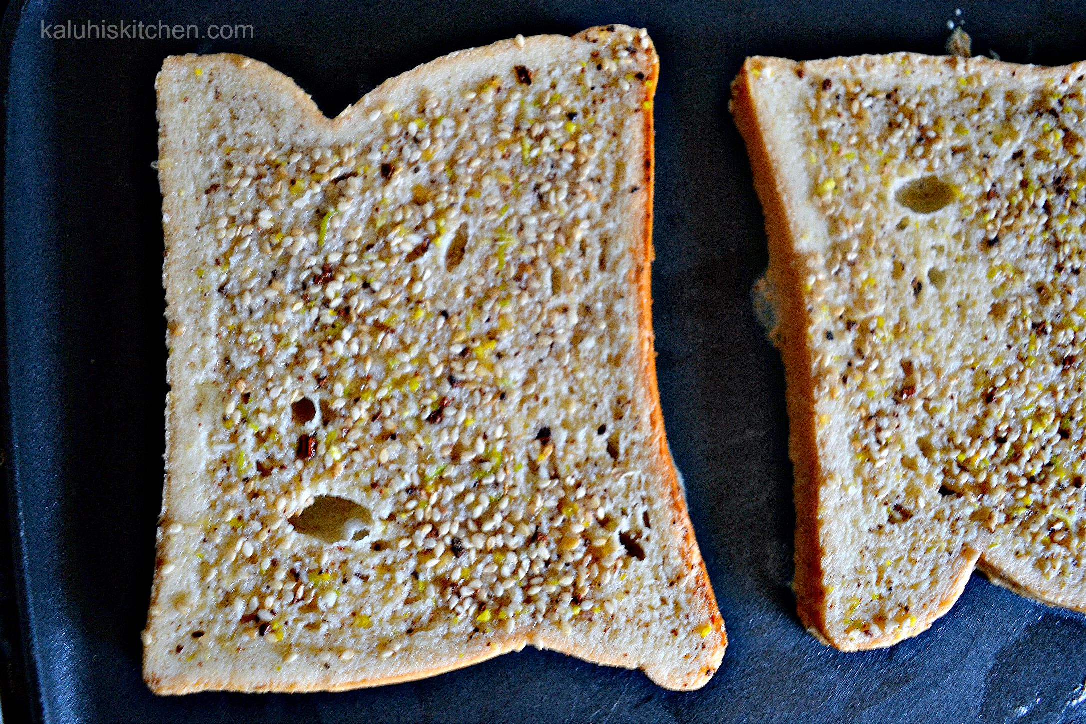the sesame seeds provide texture and nuttiness to the french toast. They will remain on the surface while the rest will sink into the bread_kaluhiskitchen.com