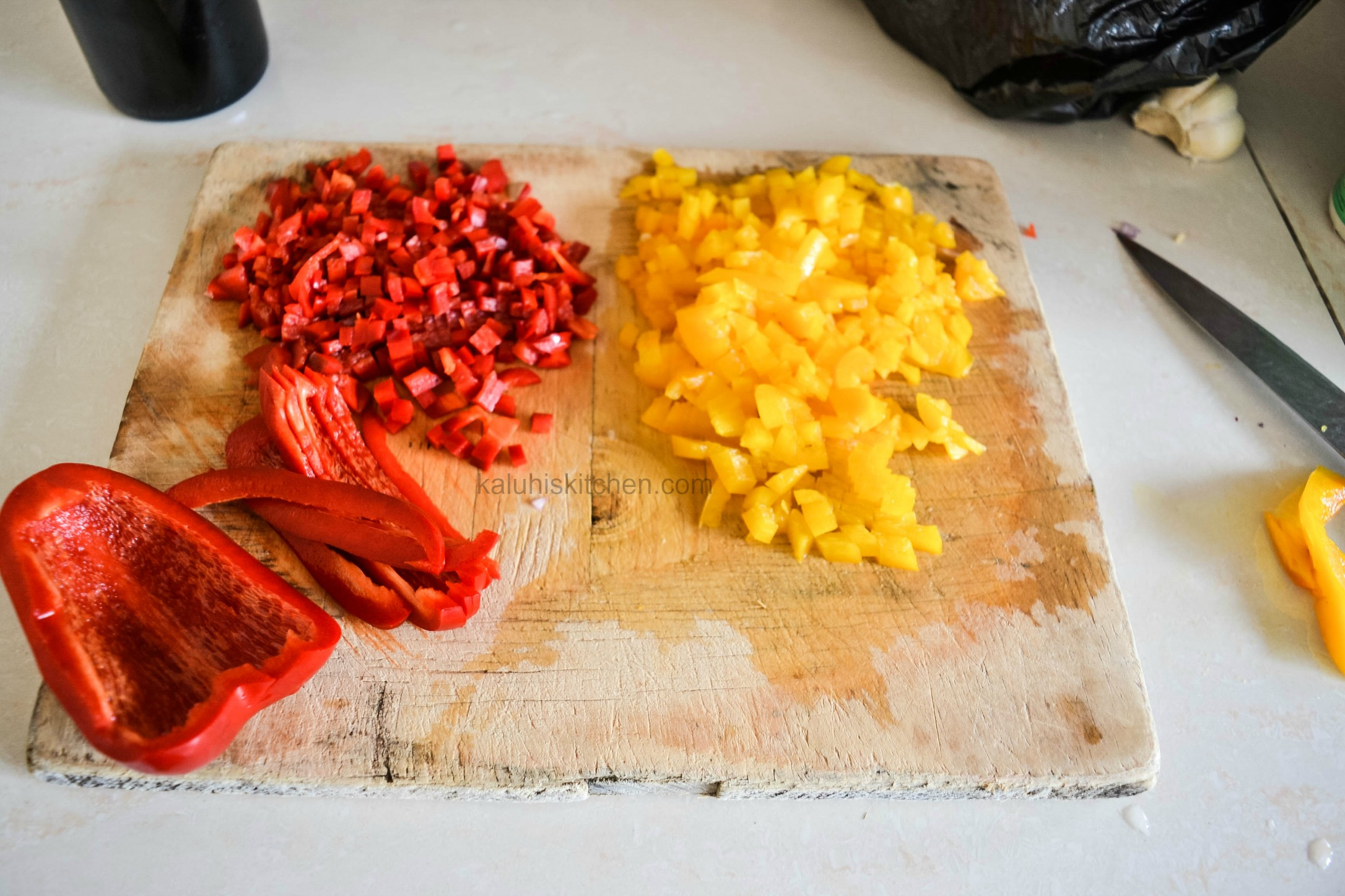 red and yellow bell pepper add color to beef recipes and nutrients too_red wine beef dry fry_kaluhiskitchen.com