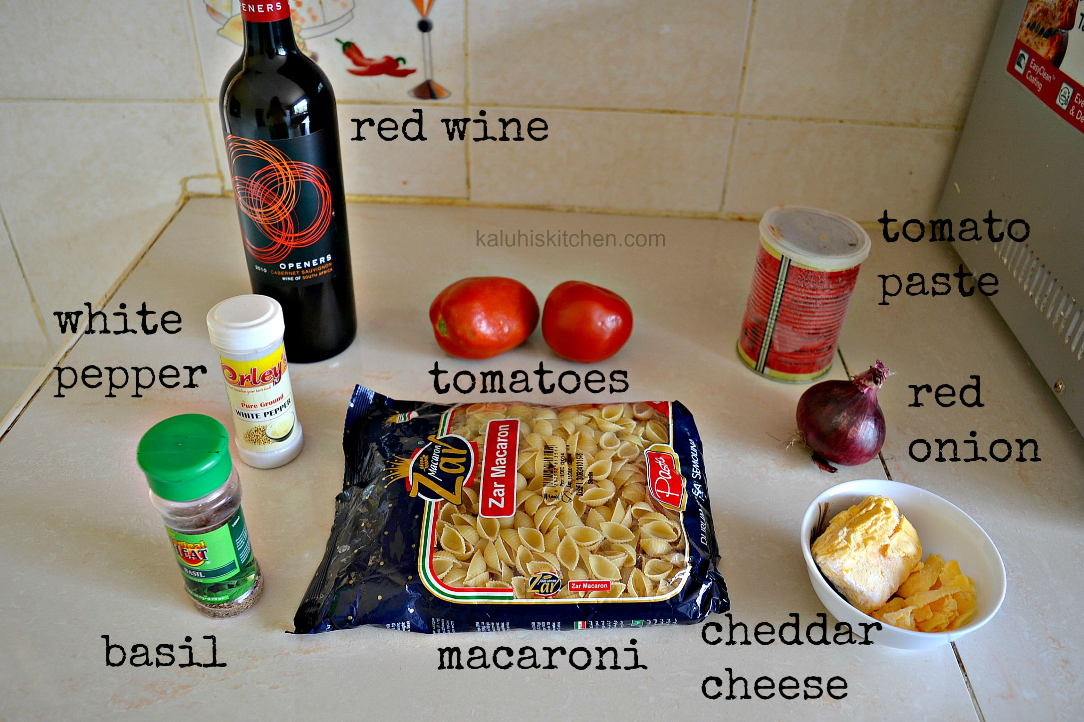 red wine and tomato cheesy pasta ingredients_ how to make pasta that has wine_kaluhiskitchen.com