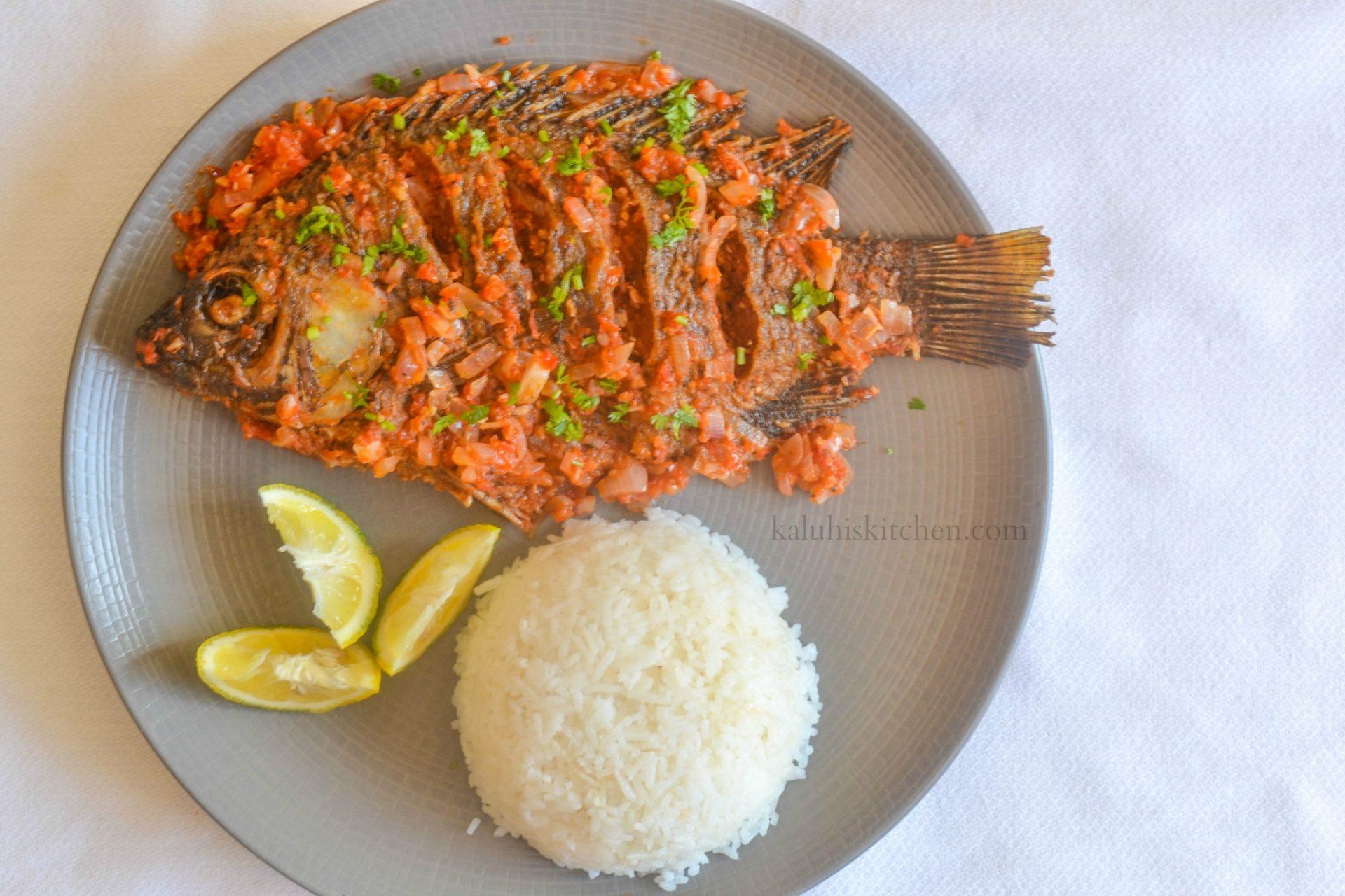 Garlic and lemon tilapia peri peri for African food cuisine