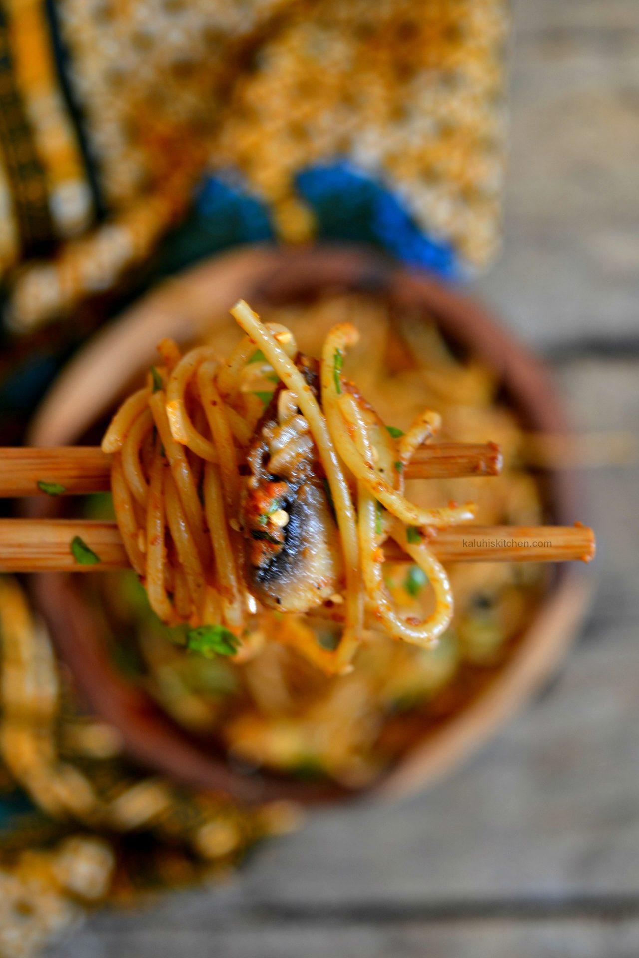 Button Mushroom and Karafuu Spaghetti
