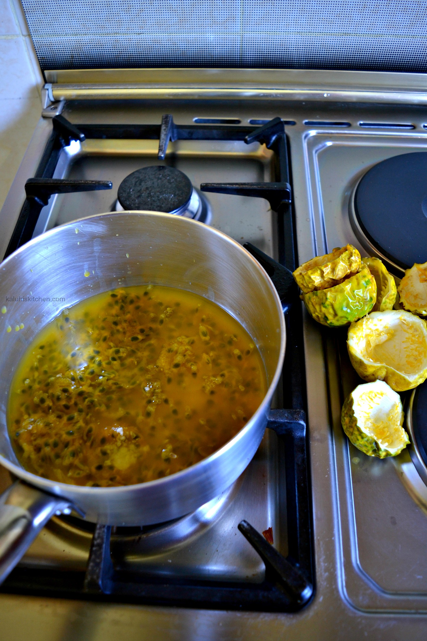how to make passion fruit syrup at home_ all you need is sugar and passion fruit pulp to stay on heat for several minutes then remove from heat_kaluhiskitchen.com