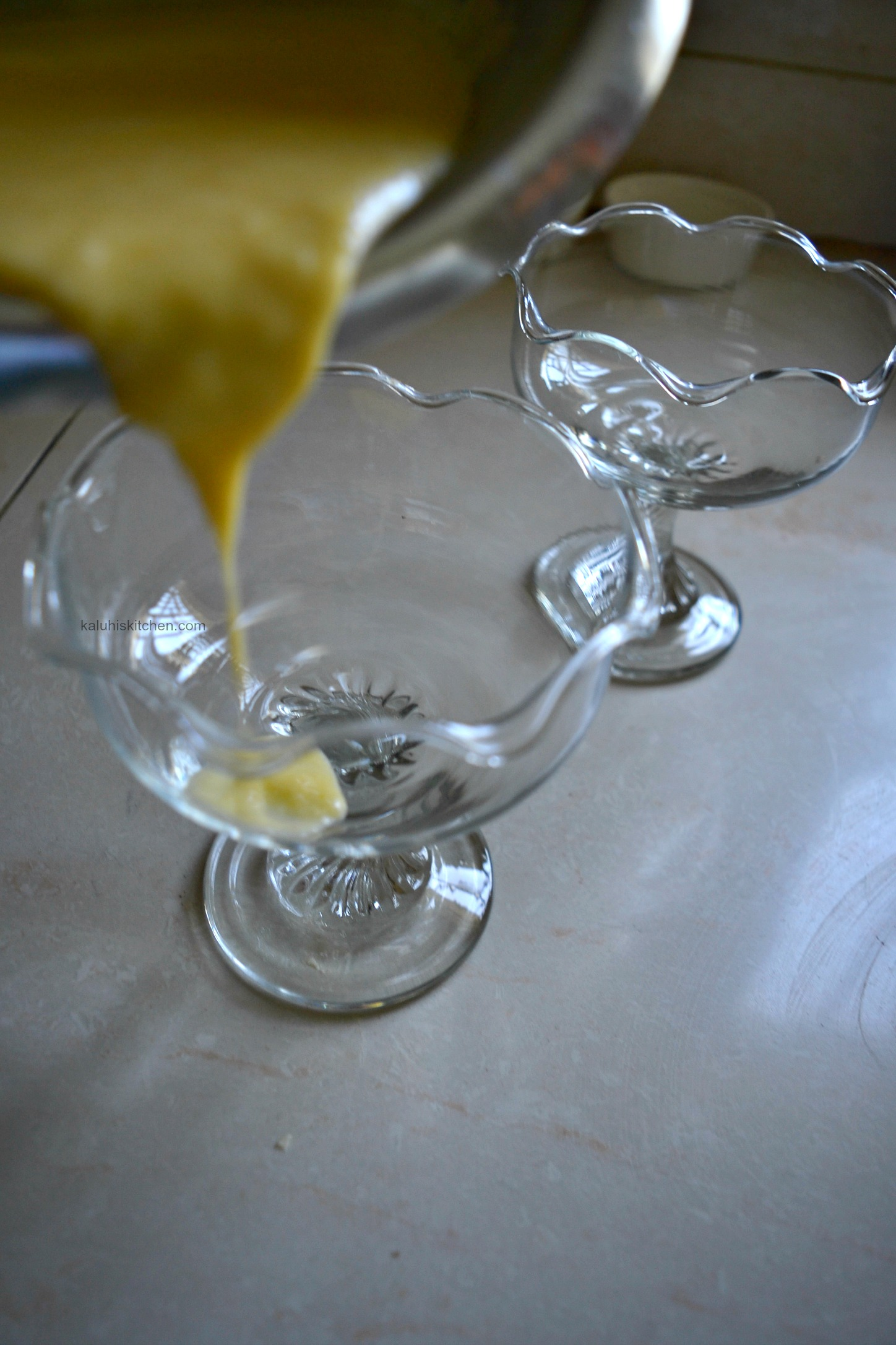 pour your green mango posset mixture into a glass when it has slightly cooled down so that the glass does not crack_how to make a posset_kaluhiskitchen.com