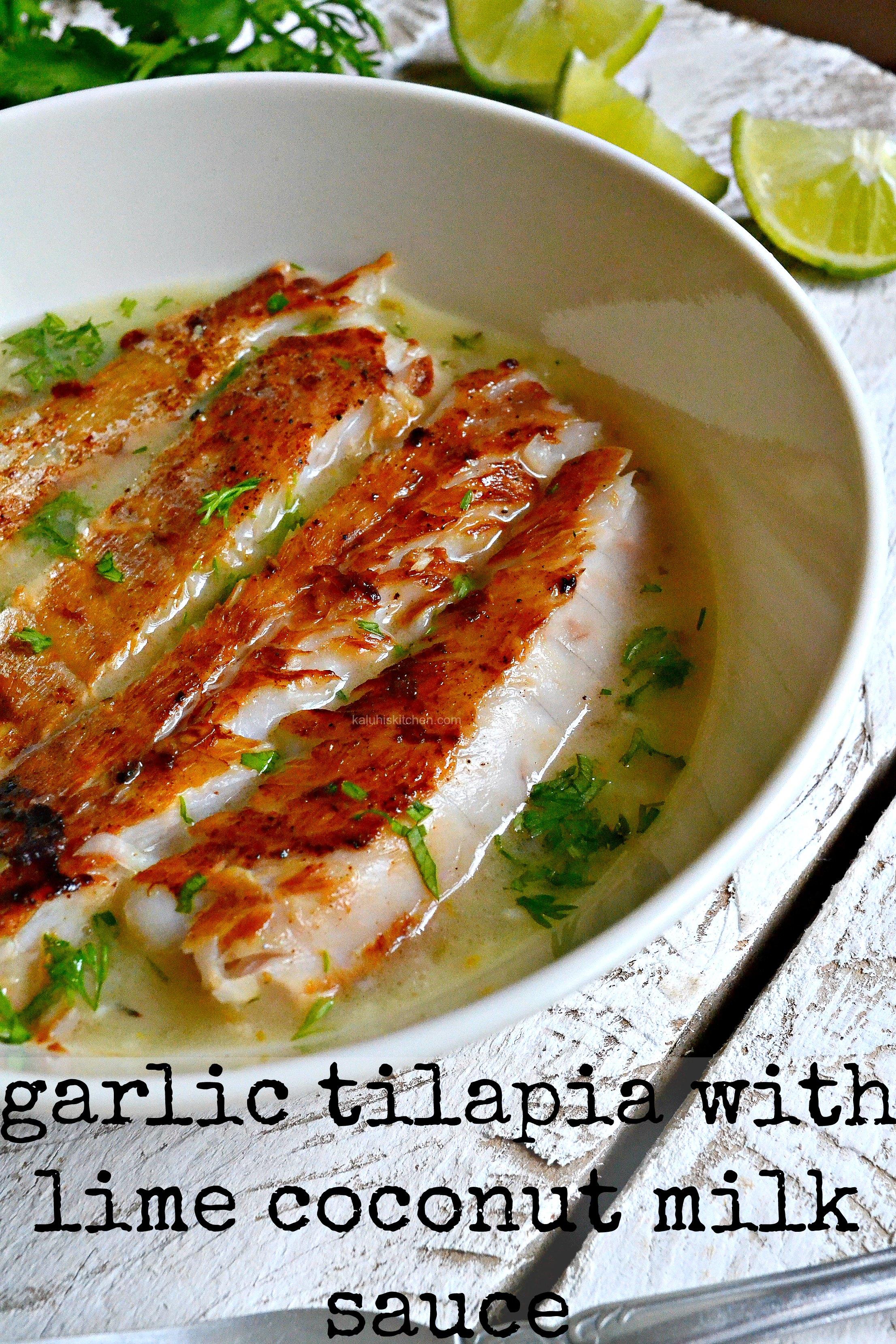 Garlic Grilled Tilapia Fillet In Lime Coconut Milk Sauce
